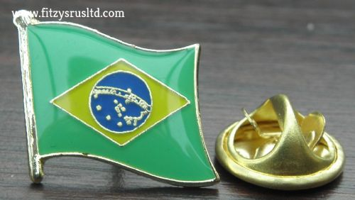 Brazil Country Flag Lapel Hat Tie Pin Badge Repblica Federativa do Brasil - New